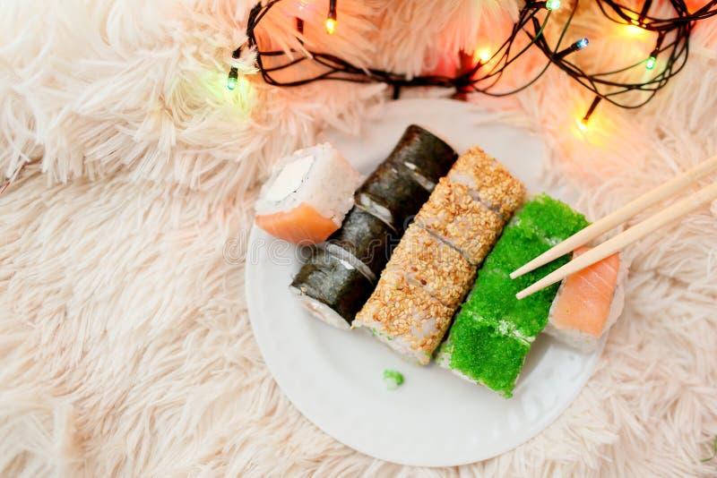 Natal dos rolos de sushi foto de stock