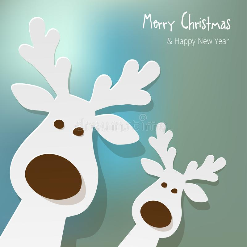 Natal duas renas brancas em um fundo azul do bokeh ilustração royalty free