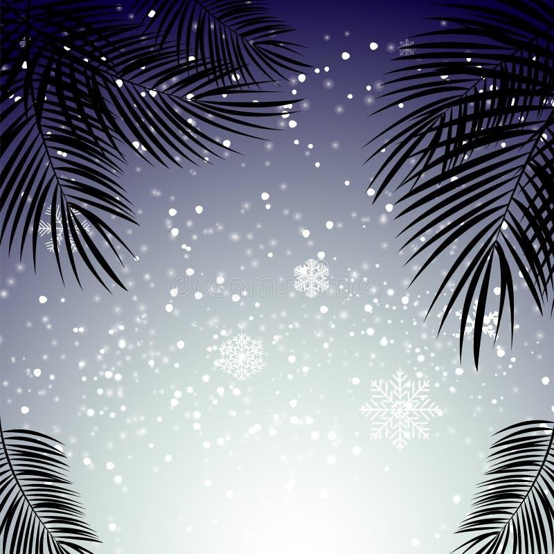 Natal e ano novo com folhas de palmeira no fundo ilustração royalty free