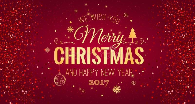 Natal e ano novo tipográficos no fundo vermelho com textura do brilho do ouro Ilustração do vetor para o fundo dourado ilustração stock