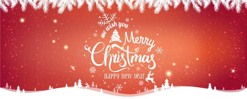 Natal e ano novo tipográficos no fundo vermelho do Xmas com paisagem do inverno ilustração royalty free