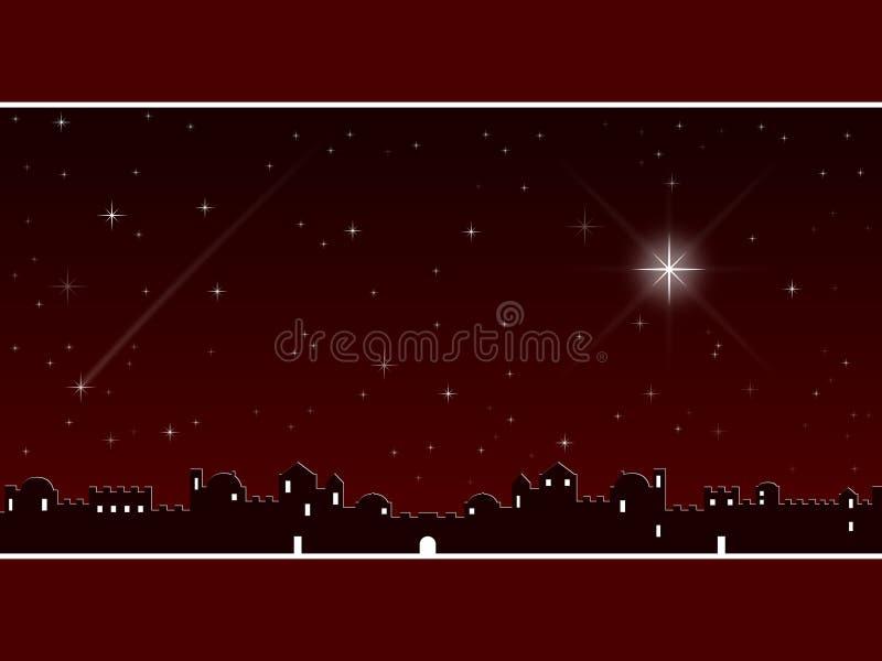 Natal em Bethlehem [vermelho] ilustração stock
