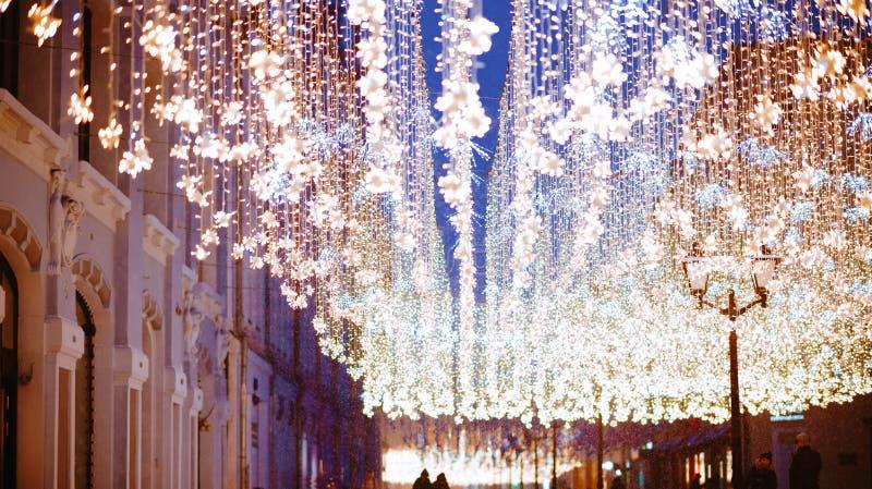 Natal em Moscou, Rússia Quadrado vermelho fotografia de stock royalty free