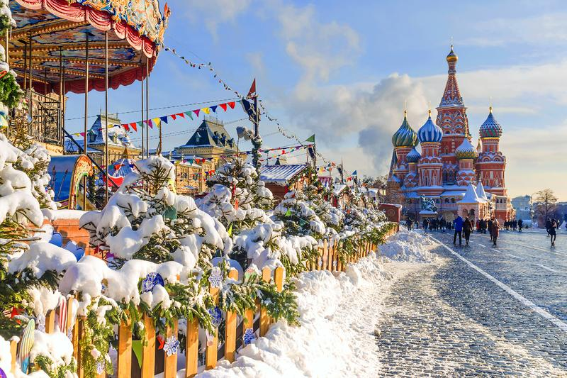 Natal em Moscovo A decoração de ano novo do quadrado vermelho dentro fotos de stock royalty free
