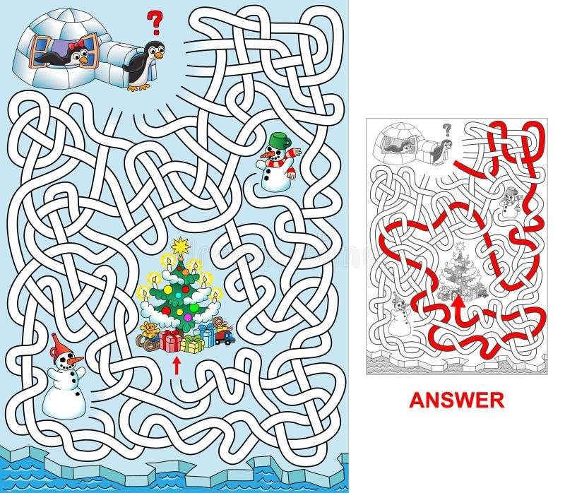 Natal em pinguins ilustração royalty free