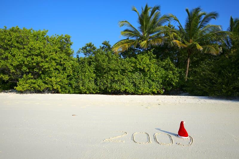 Natal em uma praia imagens de stock royalty free