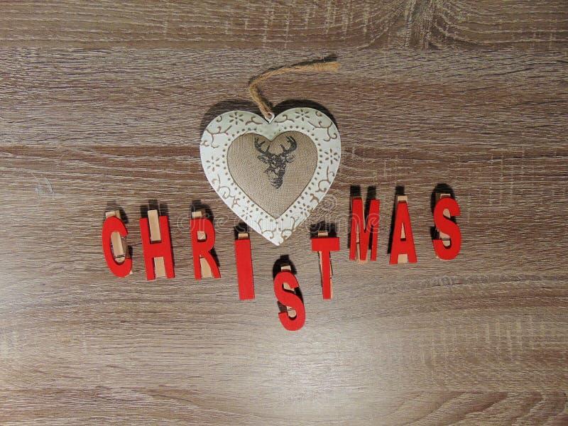 Natal escrito com decoração fotos de stock