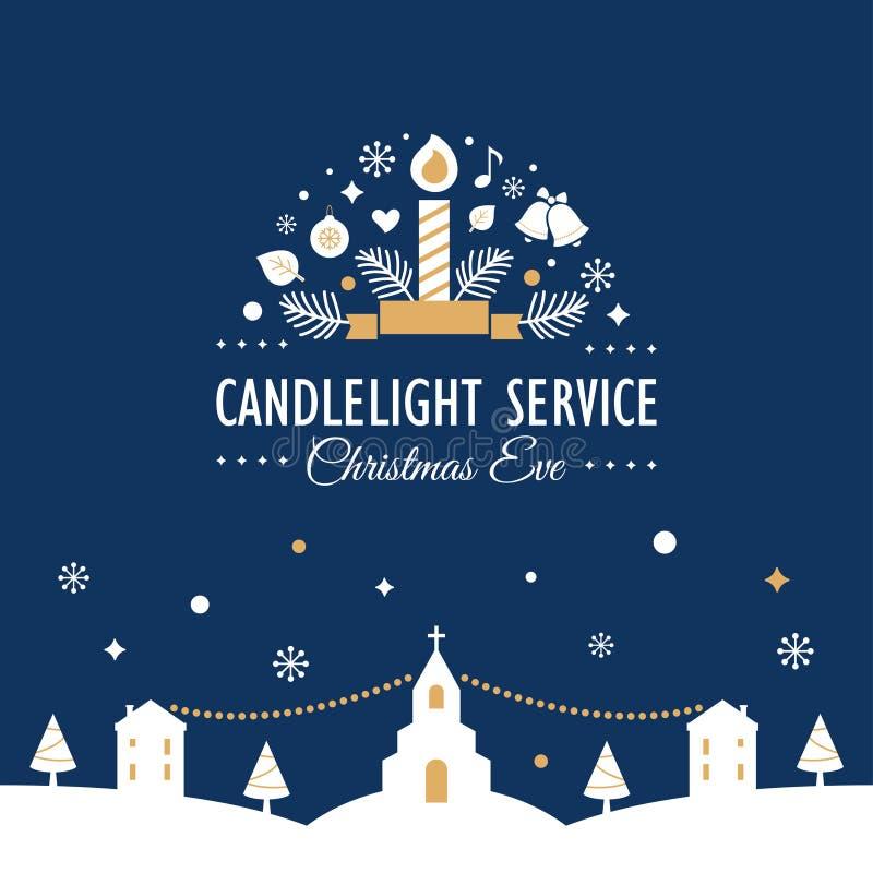 Natal Eve Candlelight Service Invitation Card ilustração stock