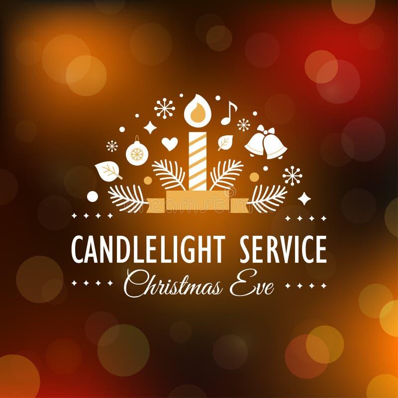Natal Eve Candlelight Service Invitation Card no fundo obscuro de Bokeh ilustração royalty free