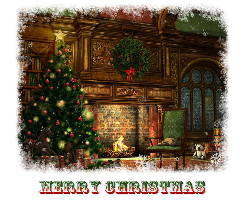 Natal Eve Card, 3d CG ilustração royalty free