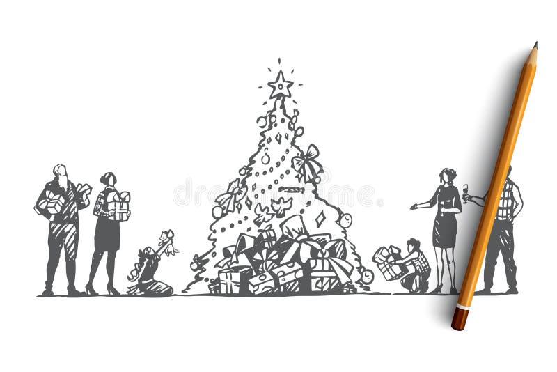 Natal, família grande, árvore, celebração, conceito feliz Vetor isolado tirado mão ilustração stock