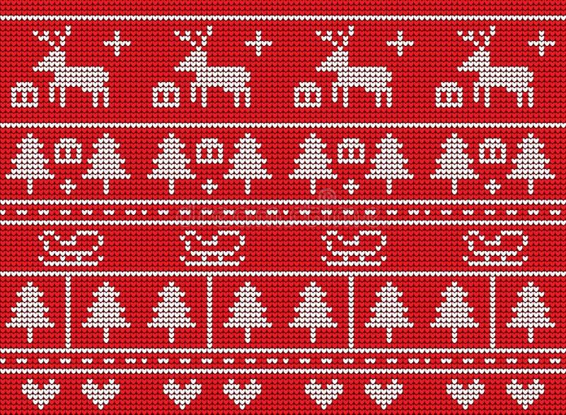 Natal feito malha no projeto vermelho do fundo ilustração stock