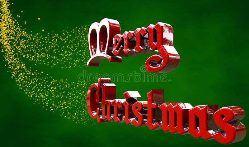 Natal feliz das palavras com estrelas ilustração do vetor