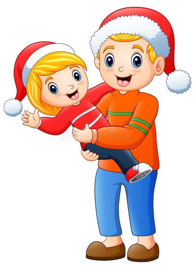 Natal feliz de And Daughter Celebrating do pai ilustração do vetor