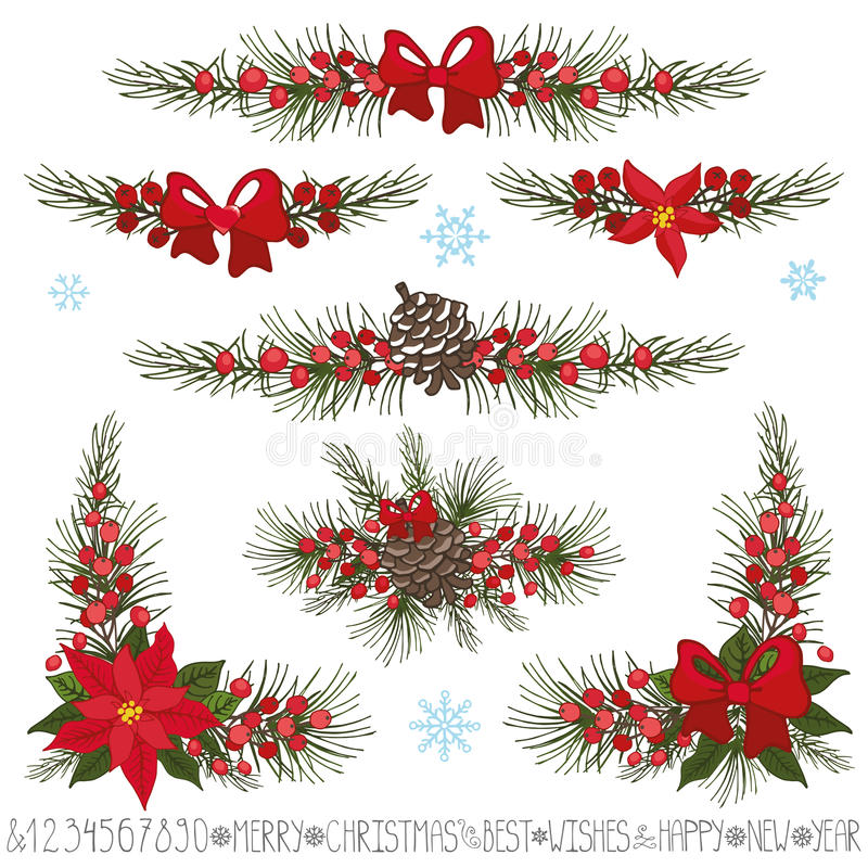 Natal, festão do ano novo, beiras, grupo do canto ilustração stock