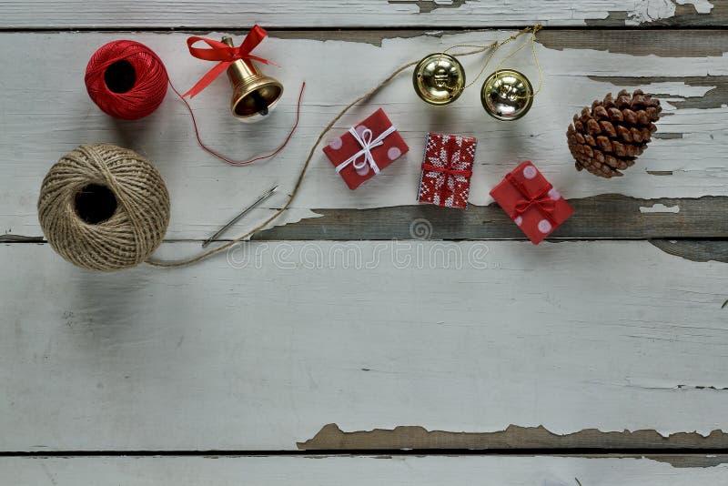Natal, fundo, placa, caixa, cone, cópia, decoração, decoração, festiva, abeto, presente, feriado imagem de stock