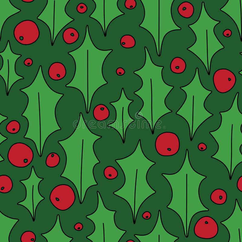 Natal Holly Berries Decorative Seamless Pattern no verde ilustração do vetor