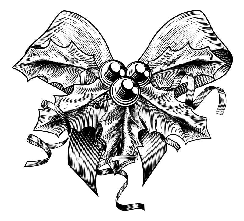 Natal Holly Bow do vintage ilustração do vetor