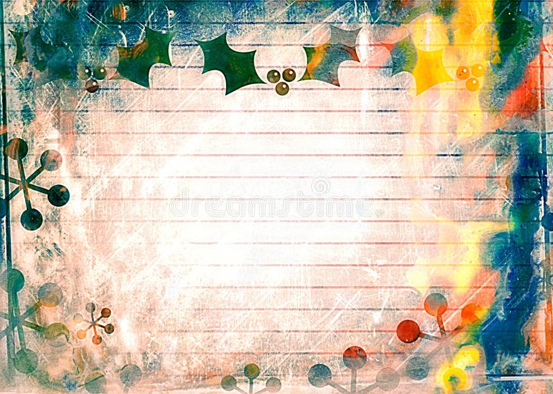 Natal Holly Paper do Watercolour ilustração stock