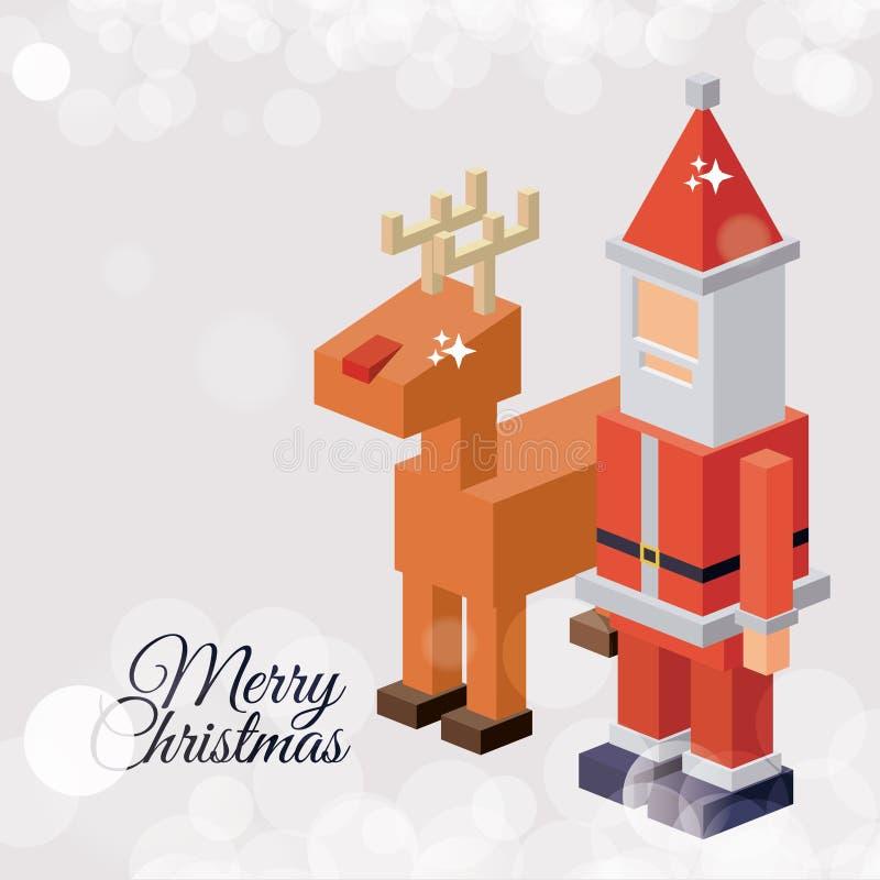 Natal isométrico Santa e projeto da rena ilustração stock