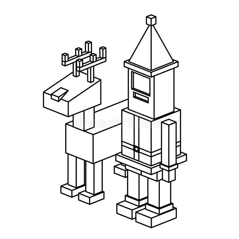 Natal isométrico Santa e projeto dos cervos ilustração royalty free