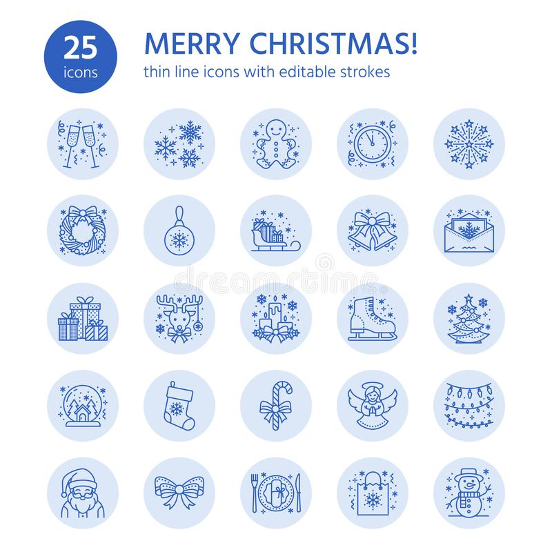 Natal, linha lisa ícones do ano novo Feriados de inverno ilustração royalty free