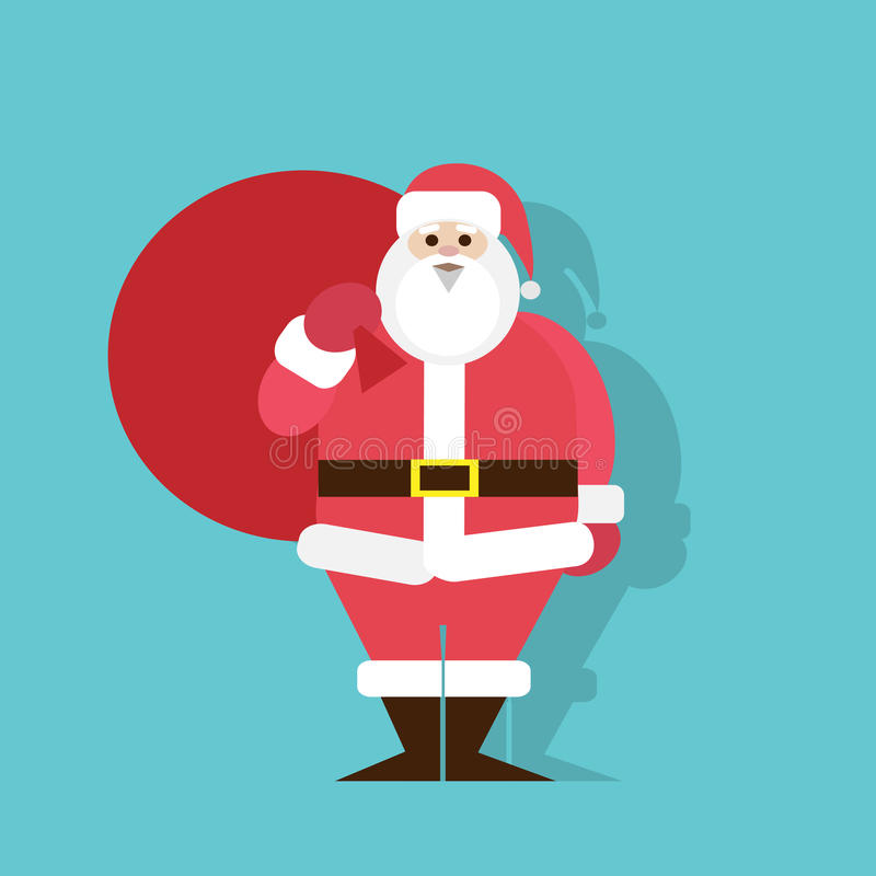 Natal liso do projeto do ícone de Santa Claus Cartoon ilustração do vetor