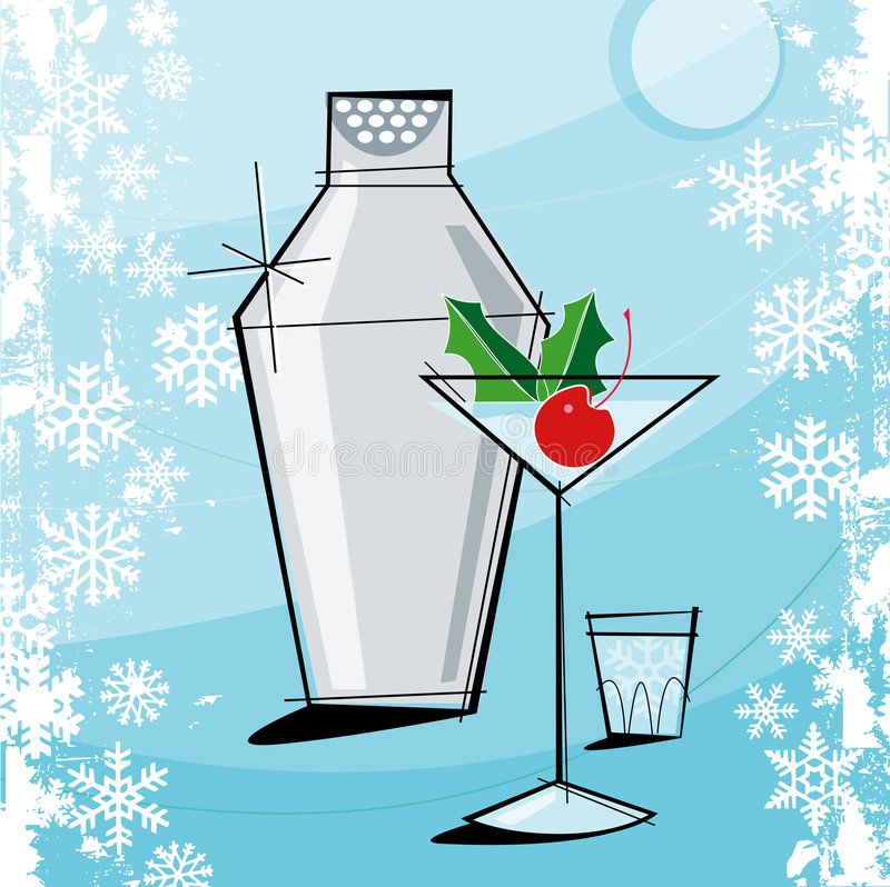 Natal Martini do Retro-estilo ilustração royalty free