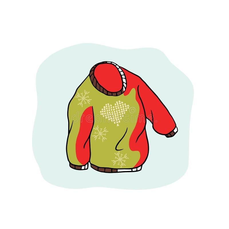 Natal nórdico Jumper Vetora Clipart Camiseta feia bordada tirada mão do coração ilustração do vetor