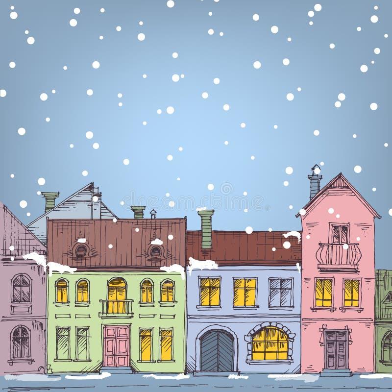 Natal na cidade ilustração do vetor