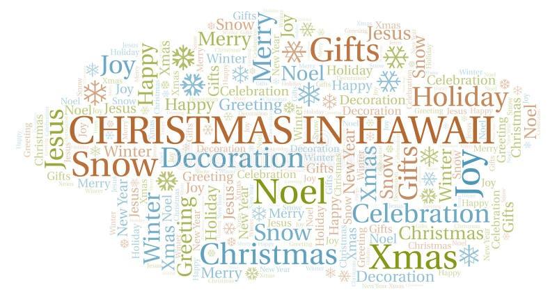 Natal na nuvem da palavra de Havaí ilustração do vetor