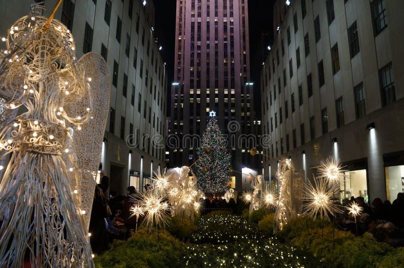 Natal na plaza de Rockefeller fotos de stock