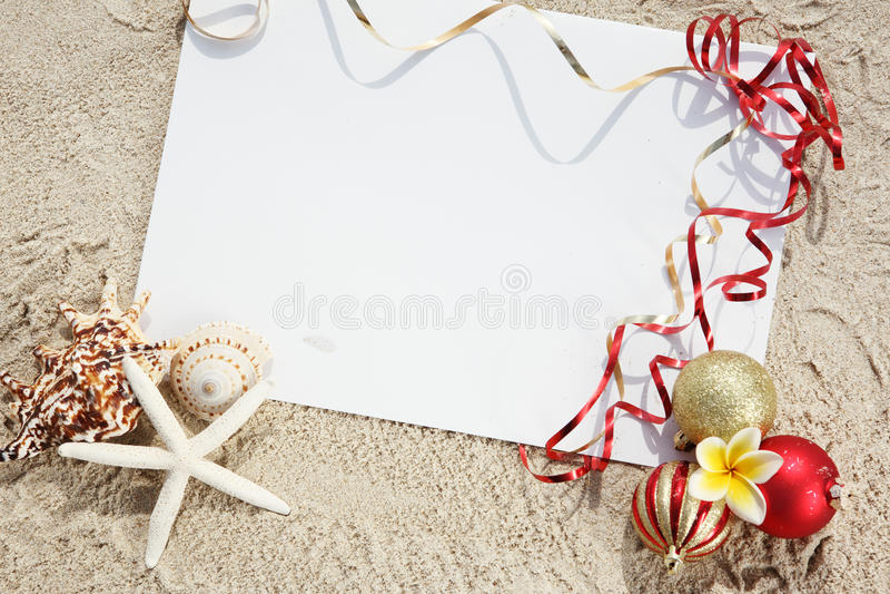 Natal na praia fotografia de stock