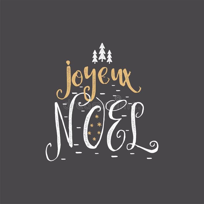 Natal no cumprimento francês Tipografia de Joyeux Noel Projeto de rotulação de Joyeux Noel Calligraphic Ilustração conservada em  ilustração royalty free