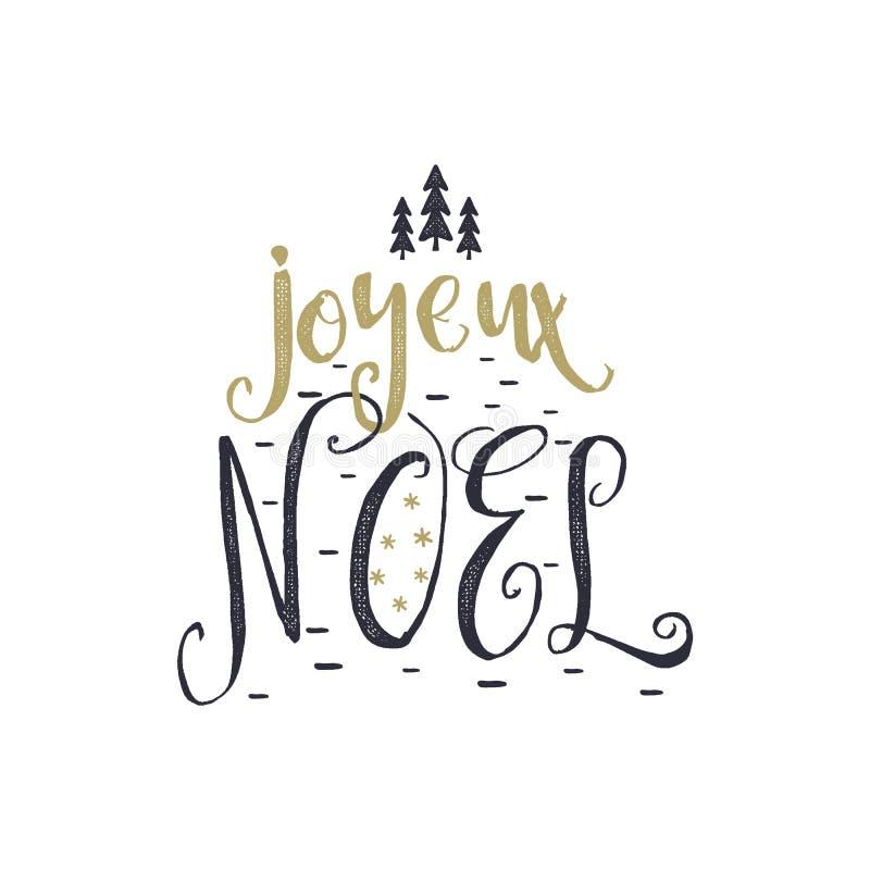 Natal no cumprimento francês Tipografia de Joyeux Noel Projeto de rotulação de Joyeux Noel Calligraphic Vetor conservado em estoq ilustração stock