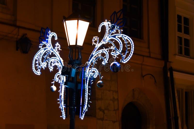 Natal no Polônia, Krakow, centro, lanterna fotografia de stock
