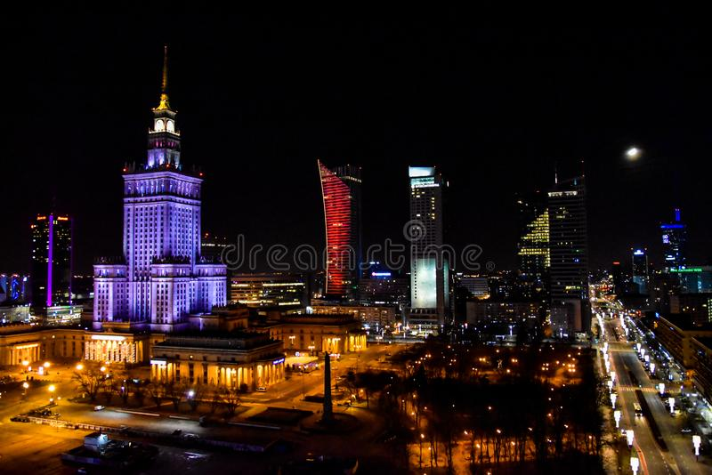 Natal no Polônia, Varsóvia, centr da cidade fotos de stock royalty free