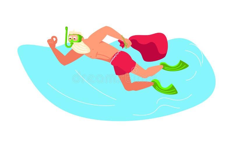 Natal no recurso tropical do mar ilustração do vetor