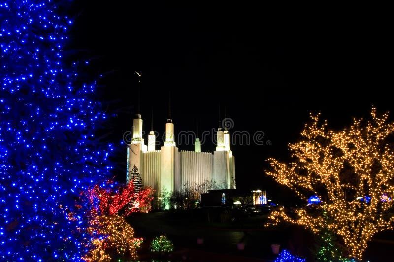Natal no templo de Mormon imagem de stock royalty free