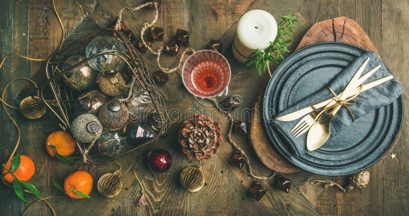 Natal ou da véspera do feriado anos novos do ajuste da tabela, vista superior imagens de stock royalty free