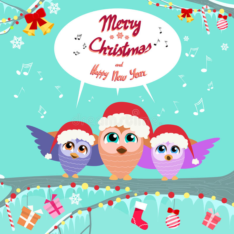 Natal Owl Chat Communication Bubble Sitting sobre ilustração stock