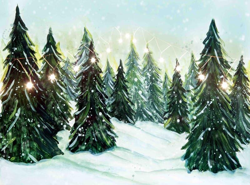 Natal, pano de fundo de inverno para retratos familiares e fotografias temáticas Bookeh Garlands foto de stock