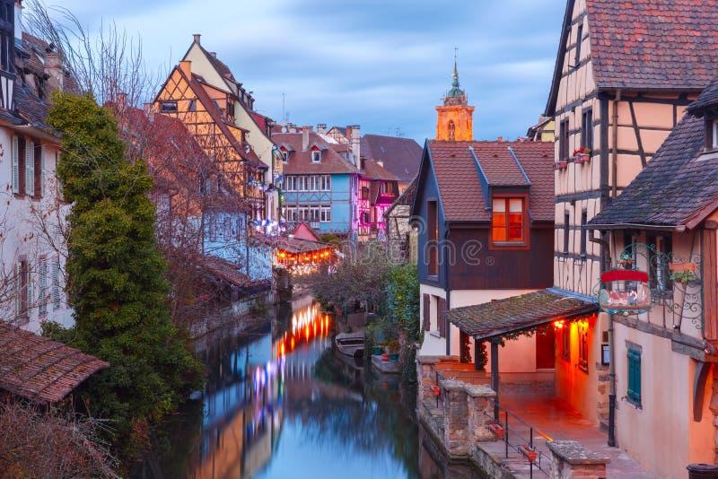 Natal pouca Veneza em Colmar, Alsácia, França fotografia de stock royalty free