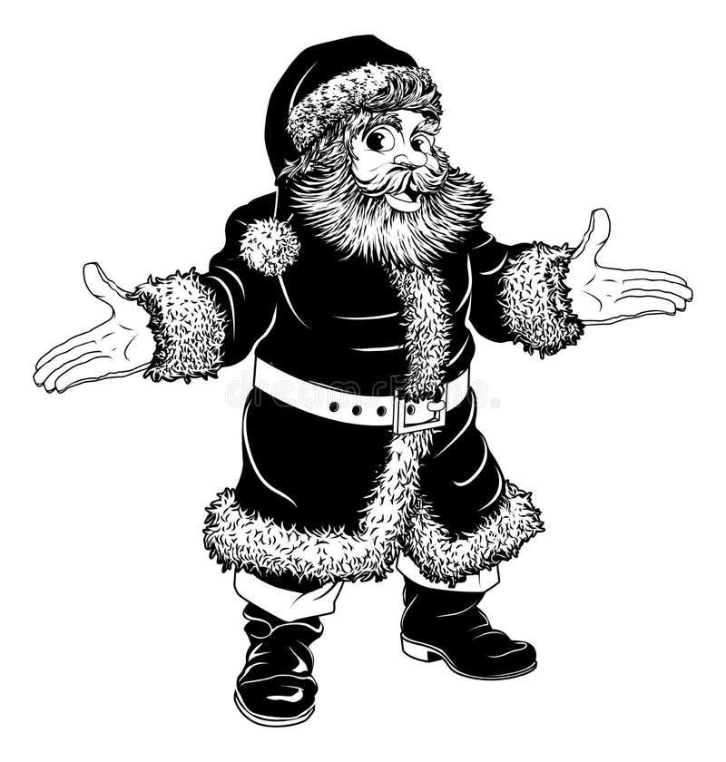 Natal Preto E Branco Papai Noel Fotografia de Stock