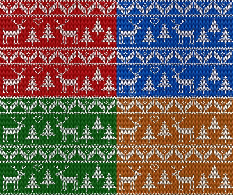 Natal que faz malha o grupo sem emenda do teste padrão O ano novo, o Natal e o inverno vector o fundo ilustração stock