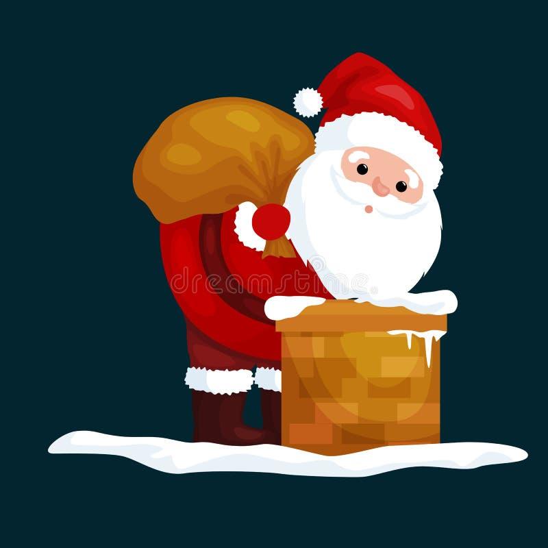 Natal Santa Claus no terno vermelho com o saco completo dos presentes nas escaladas da chaminé que dariam presentes na Noite de N ilustração do vetor