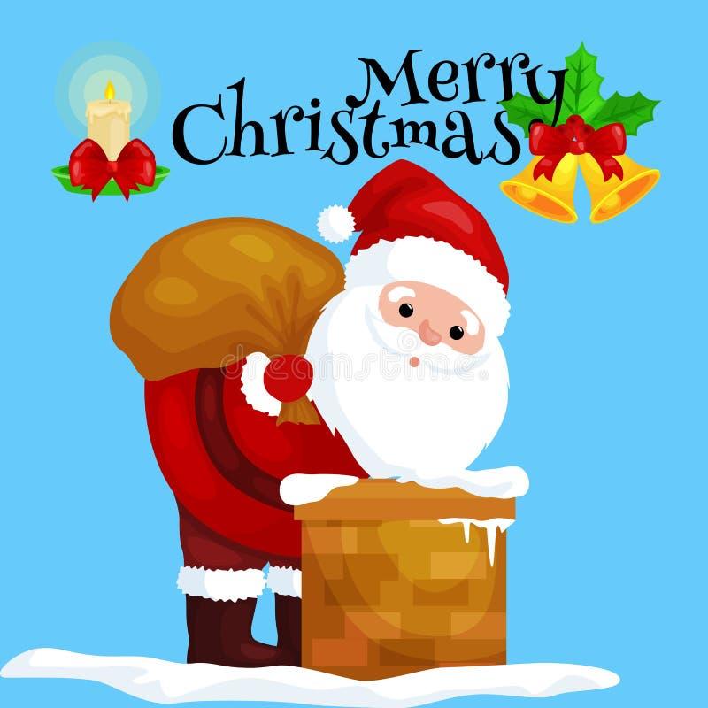 Natal Santa Claus no terno vermelho com o saco completo dos presentes nas escaladas da chaminé que dariam presentes na Noite de N ilustração stock