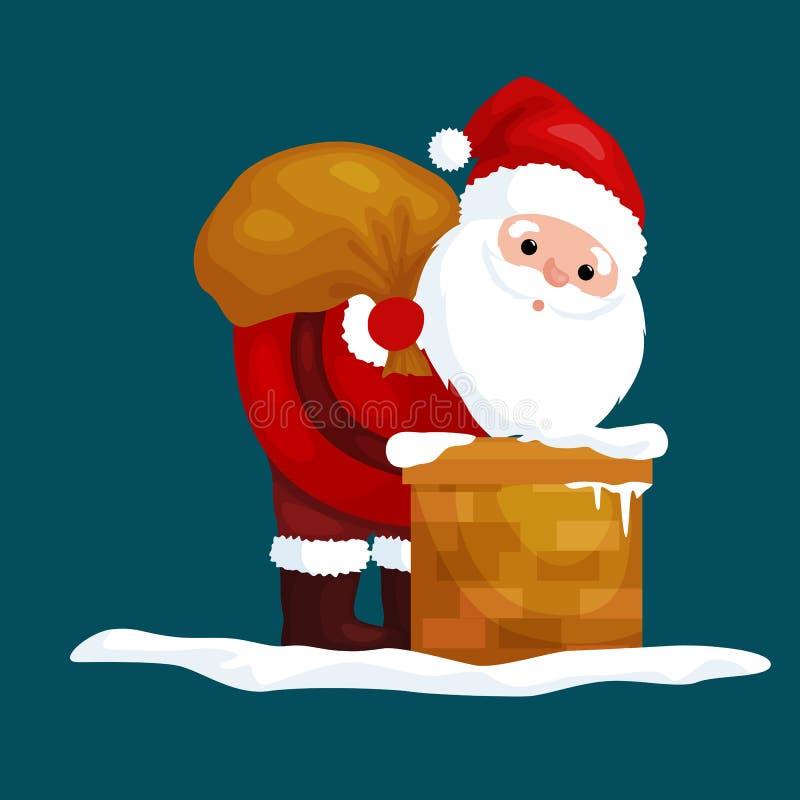 Natal Santa Claus no terno vermelho com o saco completo dos presentes nas escaladas da chaminé que dariam presentes na Noite de N ilustração royalty free