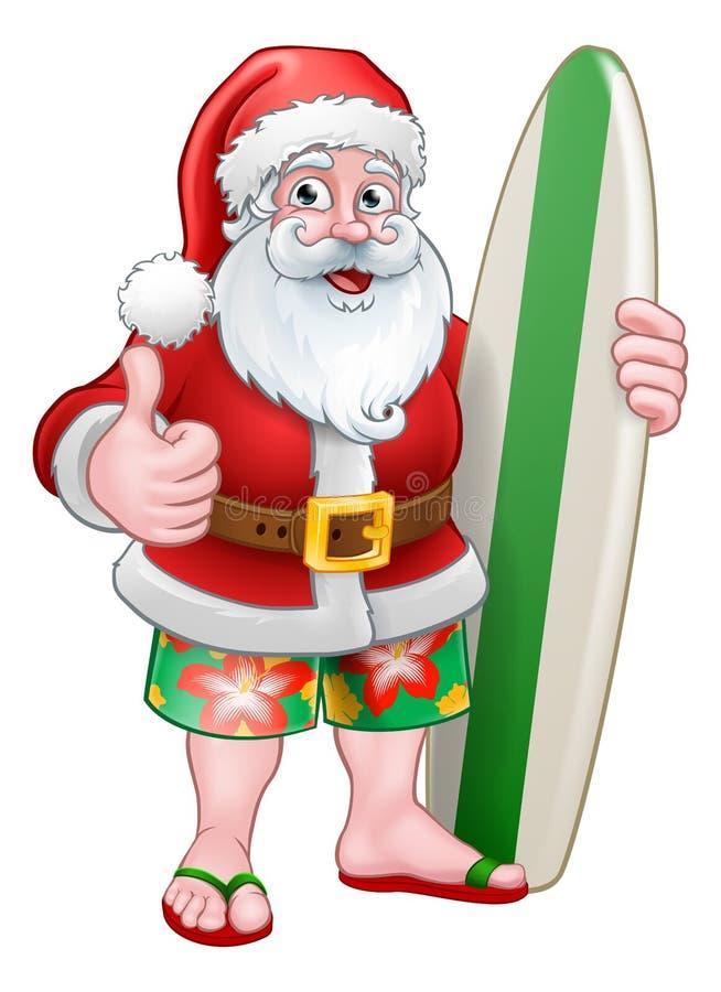 Natal Santa Claus Surf Cartoon ilustração stock