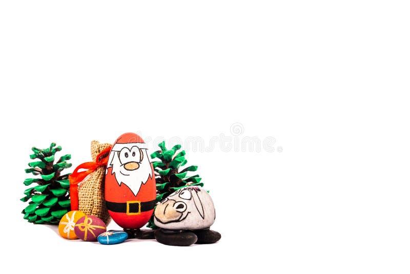 Natal Santa e sua rena no fundo branco imagens de stock royalty free